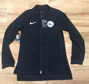 def25e173 Details about Nike Women's Philadelphia 76ers Full Zip Black Mesh Jacket  880531 010 Sz M-Tall