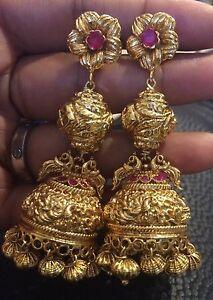 Image Is Loading 18k On 4k Real Gold Ruby Bell Earrings