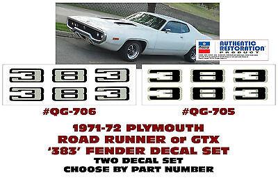 ROAD RUNNER or GTX 383 FENDER DECAL SET GE-QG-705 706 1971-72 PLYMOUTH