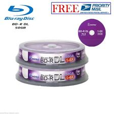 20 Pack Smartbuy 6X 50GB Blu-ray BD-R BDR DL Dual Layer Logo Top Recordable Disc