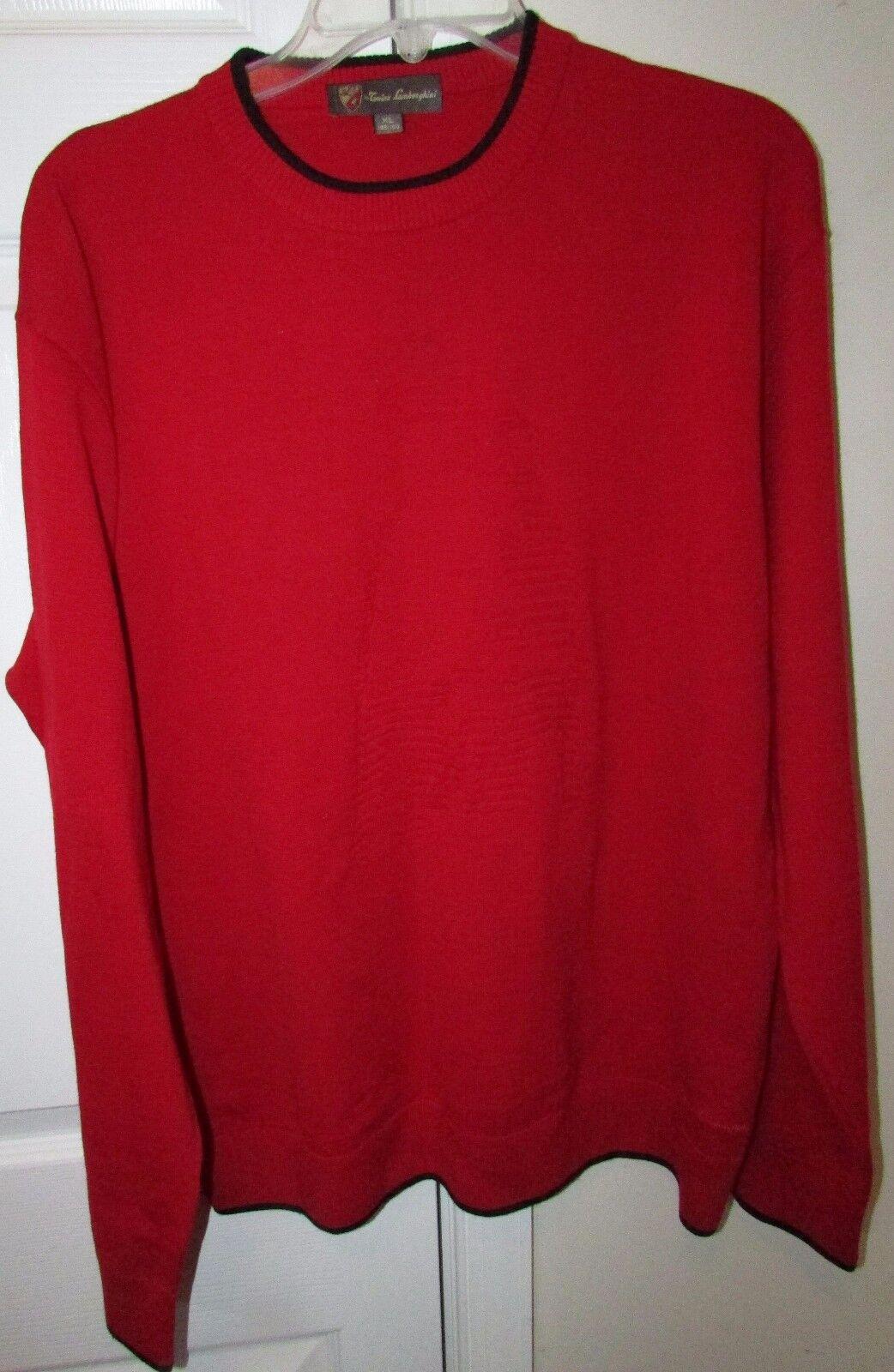 Tonino Lamborghini Merino Wool ROT Sweater XL EUC