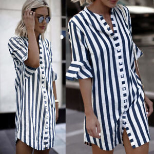 Fashion-Women-039-s-Summer-Striped-Shirt-Short-Sleeve-Loose-Casual-Blouse-Tops-Dress