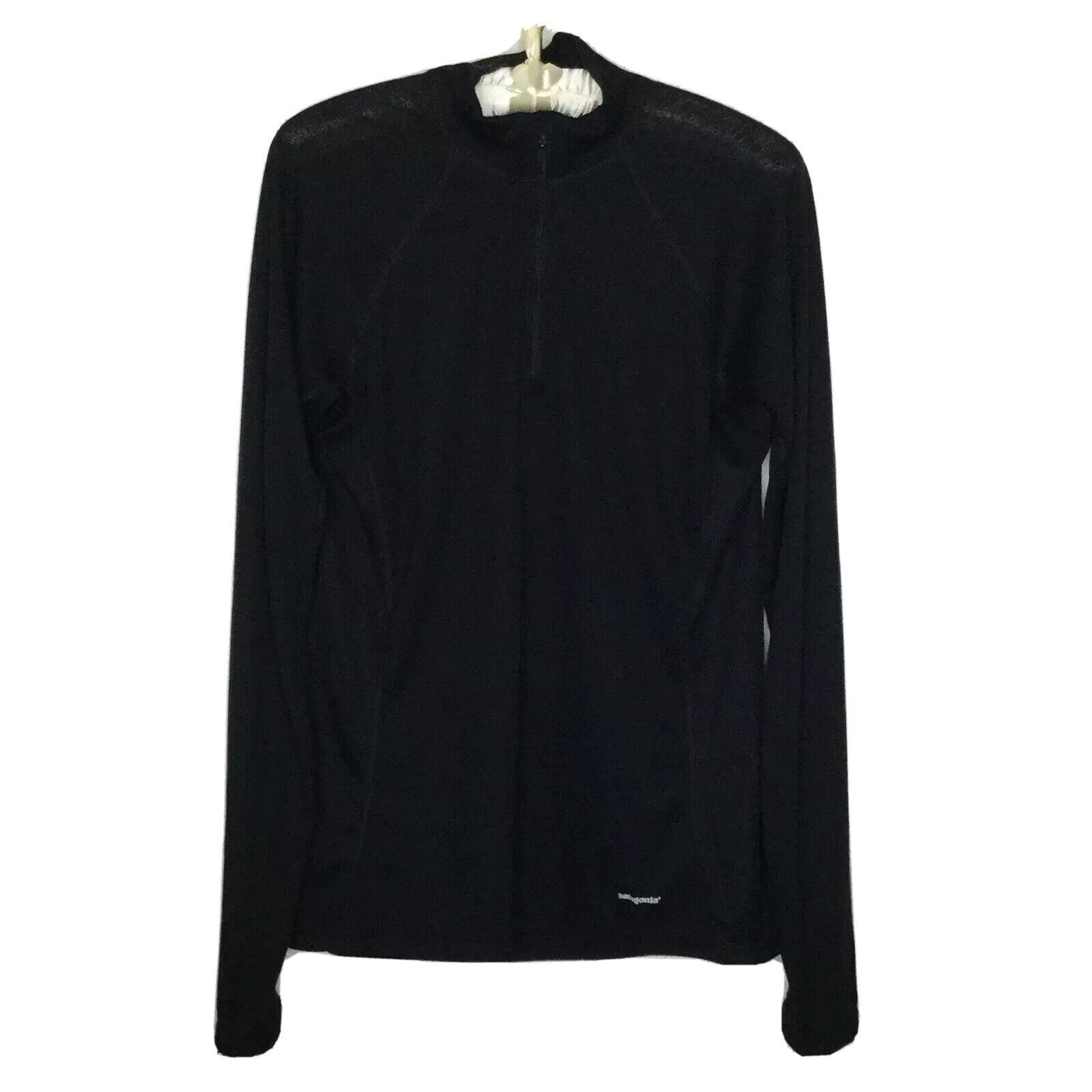 Patagonia Lightweight Layering Shirt Size L Black Long Sleeve 1/4 Zip