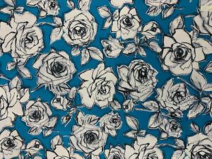 5-Metres-Bleu-Roses-Imprime-100-Coton-Popeline-Tissu
