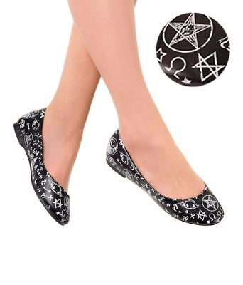 Retro Women/'s Pumps Flat Ballerina Shoes Occult Banned PENTAGRAM Goth