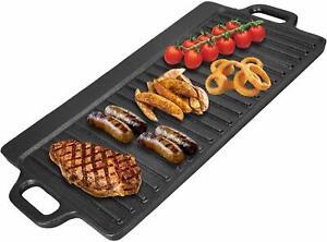 Non Stick Grill Plaque de cuisson Réversible Fonte Crêpière à gaz Cuisinière BBQ UK