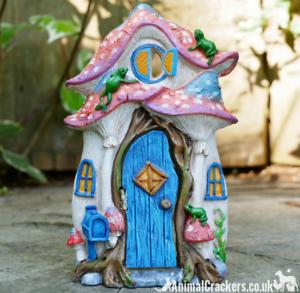 Resin-OPENING-DOOR-FAIRY-HOUSE-garden-ornament-frogs-decoration-Pixie-lover-gift