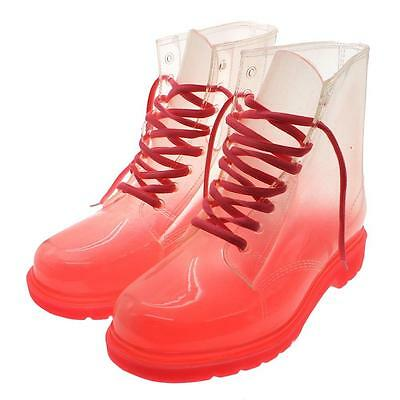 Women's Lace-up Clear Rubber Candy Color Flat Ankle Rain Boot Soft Jelly Shoes