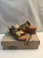 Born Boc Concept Jonna Wedge Cork Slides Heel Sandal Shoe Gold Strappy 40.5 9 M