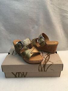 32e6172dede6 Born boc Concept Jonna Wedge Cork Slides Heel Sandal Shoe Gold ...
