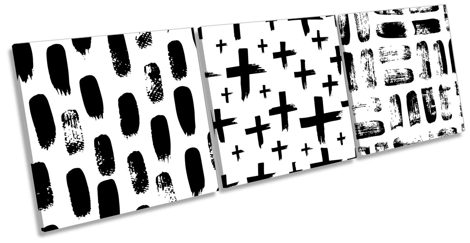 Modern Cross Pattern Set of 3 CANVAS Wand Kunst Drucken Treble Weiß