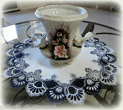 "Delicate Trim BLUEBERRY BLUE Lace Table Runner Doily  23""  Estate Design"
