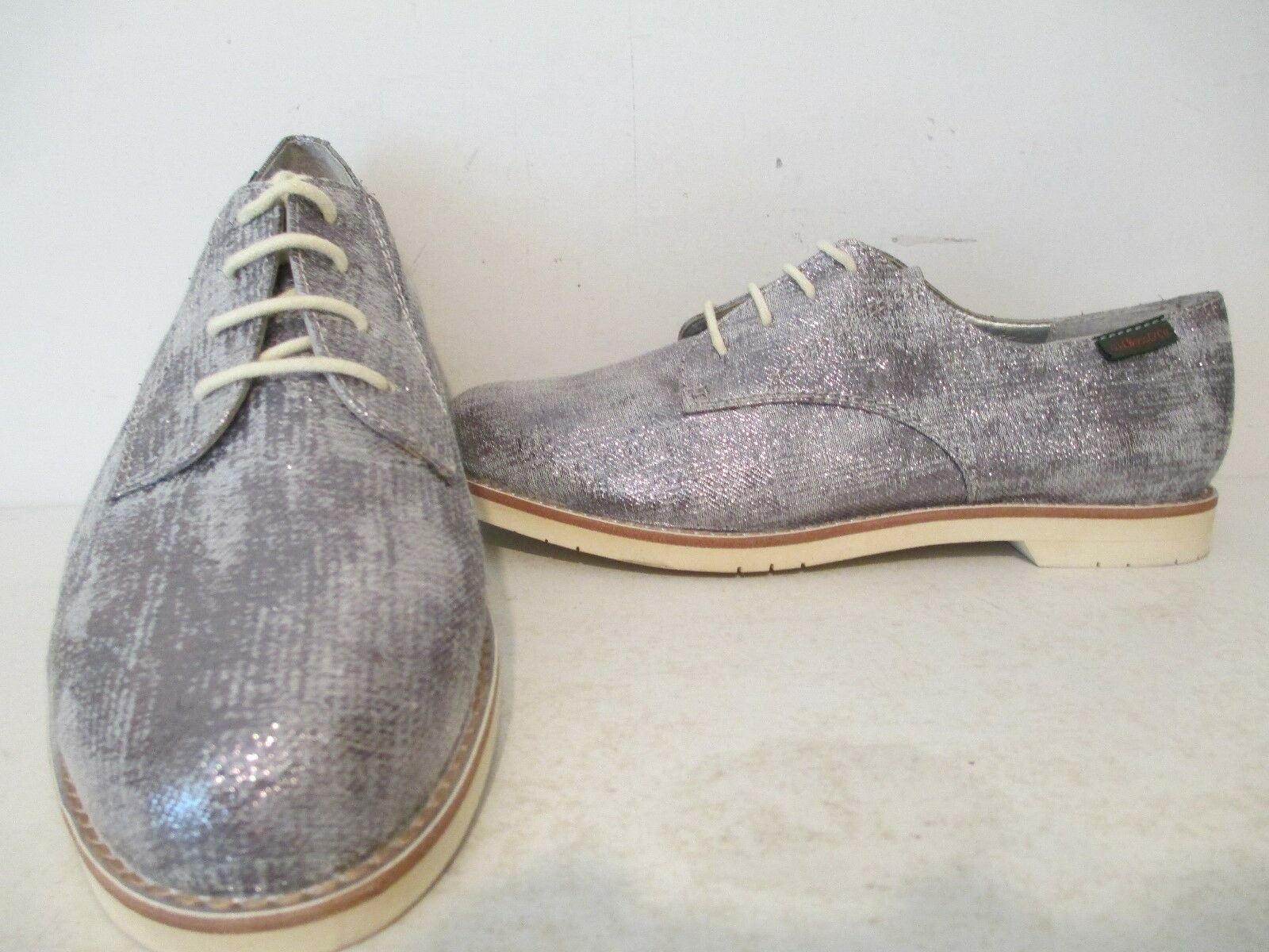 Bass Womens Ely-2 Fabric Casual Lace Up Oxford shoes Siver Glitz Size 6 M