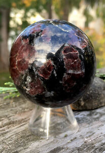238g-RARE-NATURAL-GARNET-CRYSTAL-MINERAL-POLISHED-HEALING-SPHERE-Reiki-INDIA