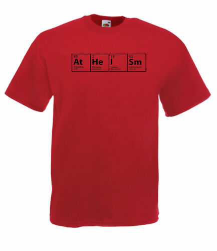THE BIG BANG THEORY INSPIRED 'ATHEISM' PERIODIC TABLE DESIGN QUALITY T SHIRT