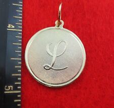 "ROUND INITIAL DISC LETTER H PENDANT CHARM OVER 1/"" 14 KT GOLD EP LARGE"