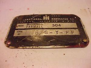 1964 Farmall 504 Rowcrop tractor Original IH Serial Number tag #7976