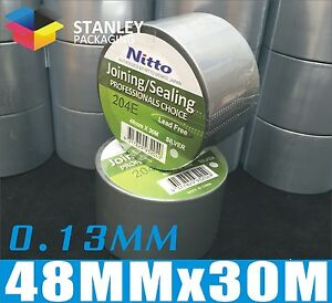 6x-Silver-PVC-Duct-Tape-48MM-x-30M-x-0-13MM-Nitto-Denko-Joining-Sealing-Tape