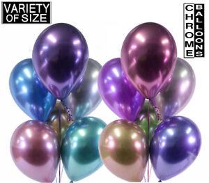 50pcs Chrome Ballons Latex 5/10/12/18 in (environ 45.72 cm) Ballons Hélium/Air Garçon/Fille UK