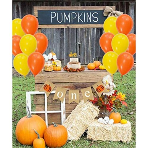 Hanging Paper Fans, 1st Cake Topper Little Pumpkin First Birthday Decorations