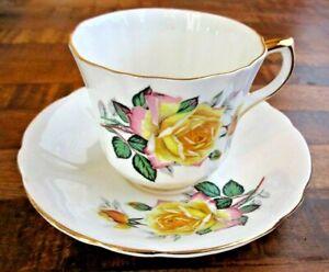 Royal Eton Yellow & Pink Rose Tea Cup & Saucer Staffordshire Bone China England