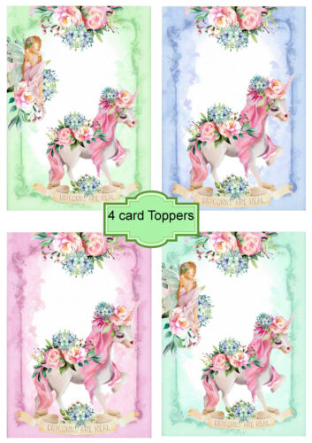 card toppers x 4 Unicorns And fairies// card making// Scrapbooking//unicorn craft