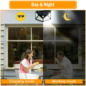 100-LED-Solar-Power-PIR-Motion-Sensor-Wall-Light-Garden-Lamp-Waterproof-UK-BEST