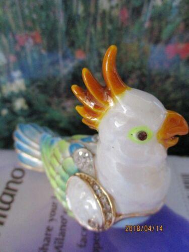 Cockatoo Trinket Box Enamel /& Swarovski Crystals Crystal New /& Boxed   3109