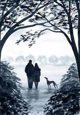 PAINTING GREYHOUND WHIPPET LURCHER 6812 Dianne Heap ART DOG GALGO PRINT TREES