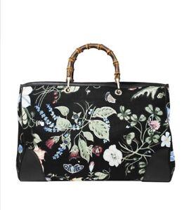 ac23841d86e3 NWT Gucci Kris Knight Canvas Floral Bamboo Tote Bag Purse Handbag ...
