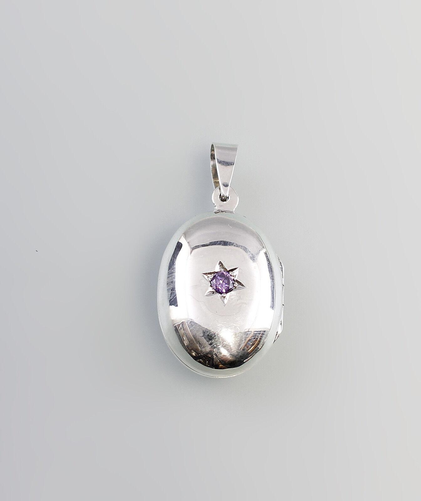 925er silver modischer Medaillon-Anhänger mit Amethyst  9907189