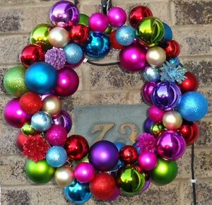 Christmas bauble wreath hanging decoration peacock gold pink image is loading christmas bauble wreath hanging decoration peacock gold pink solutioingenieria Images