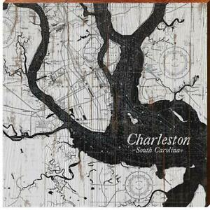 Charleston, South Carolina Black & White Shabby Map Wall Art