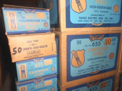 10-PK NEW EAGLE Buss NON-60 Amp Fuses 250 Volt One-Time WOW Fast Ship NOS