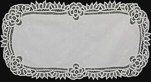 Creative-Linens-White-Battenburg-Lace-Table-Runner-16x34-034-Oval-Cotton-Handmade