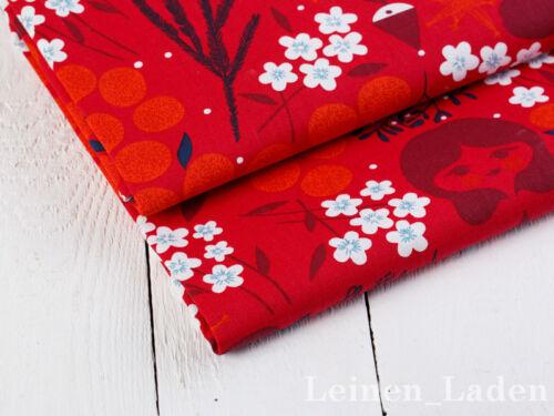 100/% coton rétro Blümen motif en Rouge, halbpanama 0,5 M DECO Stott