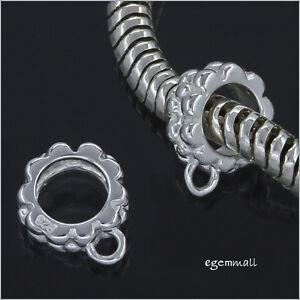 2 Silver European Pendant Charm Cord Connector #51375