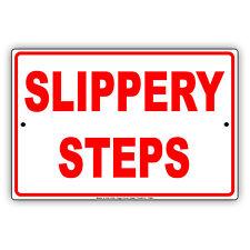 Slippery Steps When Wet Notice Alert Novelty Wall Art Decor Aluminum Metal Sign