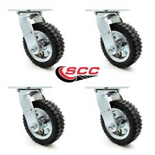 6 Inch Black Pneumatic Wheel Swivel Caster Set Service Caster Brand
