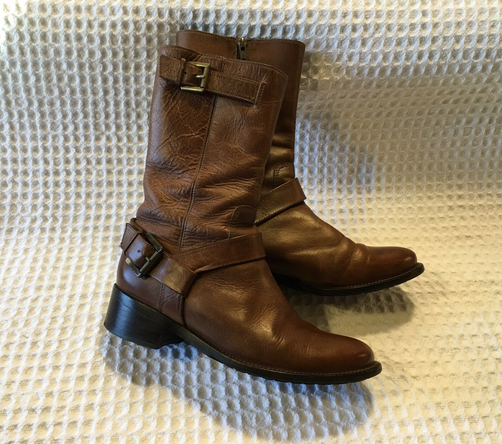 COLE HAAN D32993 Leather Mid-Calf Moto Motorcycle Boots  Brown 7 B