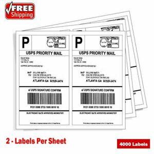 4000 Half Sheet Shipping Labels 8.5x5.5 Round Corner Blank For Laser Inkjet