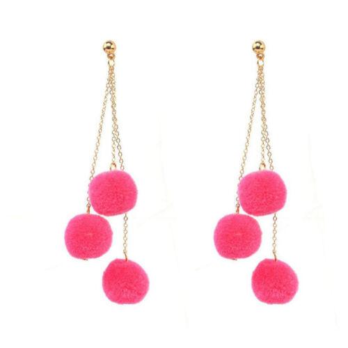 Fashion Women/'s fur Ball Pompon Oreille Clous Crochet Long Drop Dangle Boucles d/'oreilles Chaîne