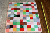 "Handmade Patchwork Vintage Polyester Crib Square Lap Quilt (36"" x 32"")"