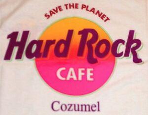 Hard-Rock-Cafe-COZUMEL-1990s-White-Tee-T-SHIRT-with-HRC-NEON-LOGO-XL-22-034-x-17-5-034