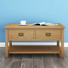 Item 8 Oak Coffee Table Light Lounge Solid Wood With Drawers Uk