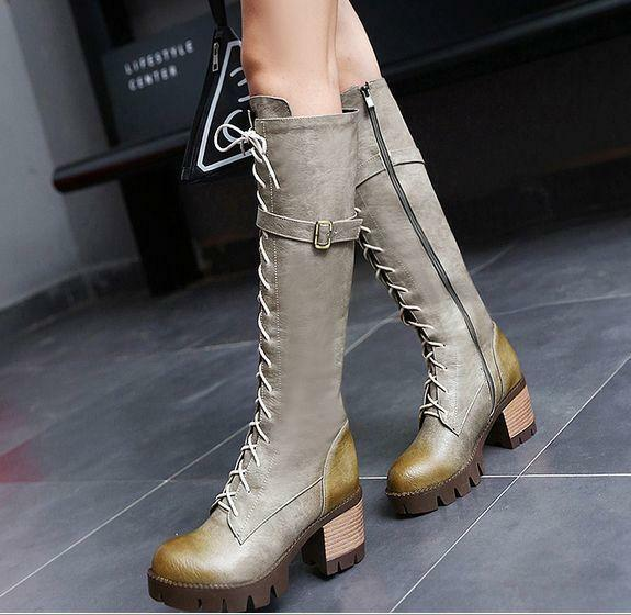 Fashion Womens punk Round Toe Lace Up Chunky knight Slim Knee High Boots shoes