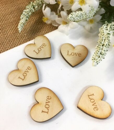 'Love' Rustic Wood Engraved WeddingParty Table Decorations 50 Bag