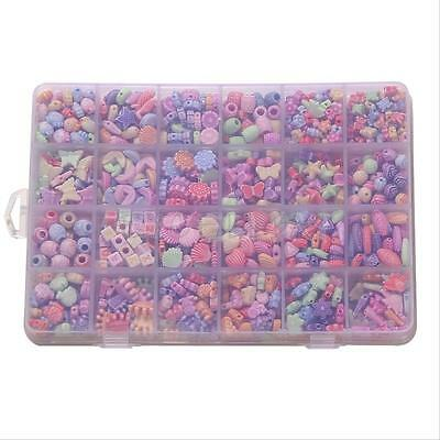 450/600/650/1100Pc Colorful Beads Children Jewelry Making DIY Craft Kit Kids Toy