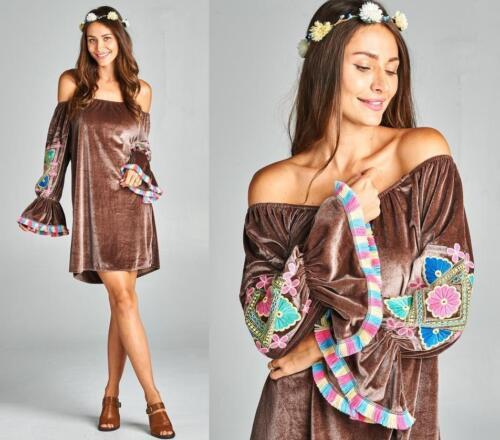 Velvet Brown Off The Shoulder Poet Bell Sleeve Evening 284 mv Dress 1XL 2XL 3XL