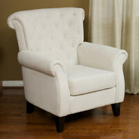 Living Room Furniture Light Beige Tufted Fabric Club Chair on sale